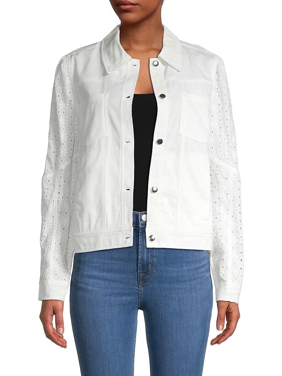 Women's Eyelet Sleeve Denim Jacket