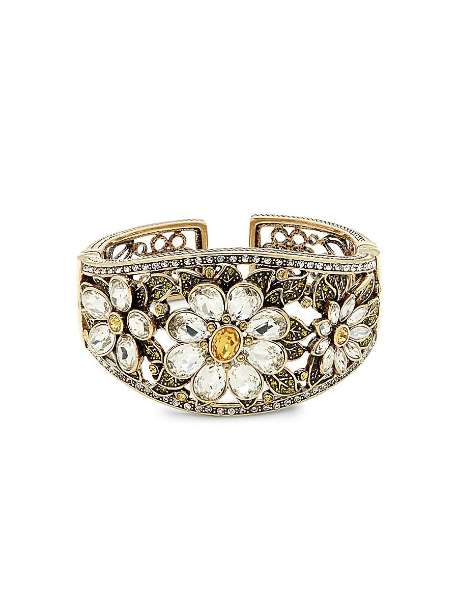 Women's Fun Floral Glass Crystal Cuff Bracelet
