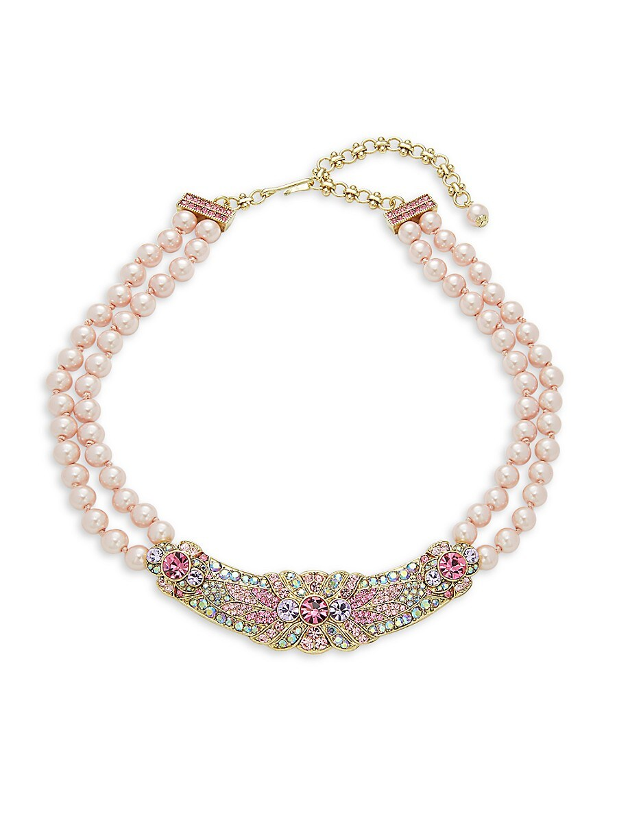 Women's Prim & Perfect Faux Pearl & Crystal Flower Necklace
