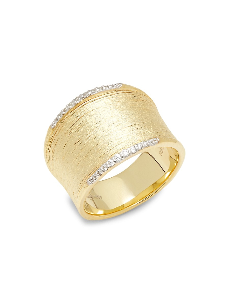 Women's 18K Goldplated Sterling Silver & Simulated diamond Wide Band Ring/Size 8