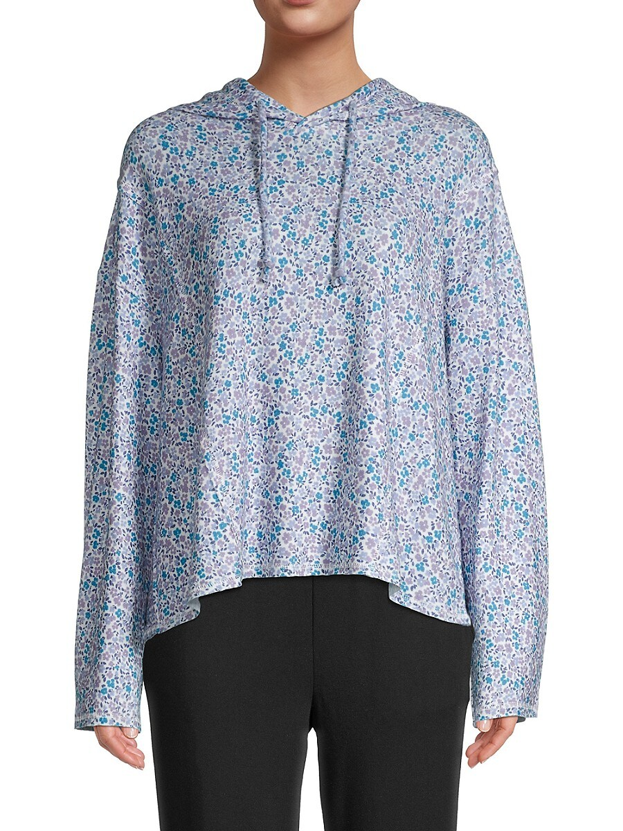 Women's Ditzy Floral-Print Hooded Top