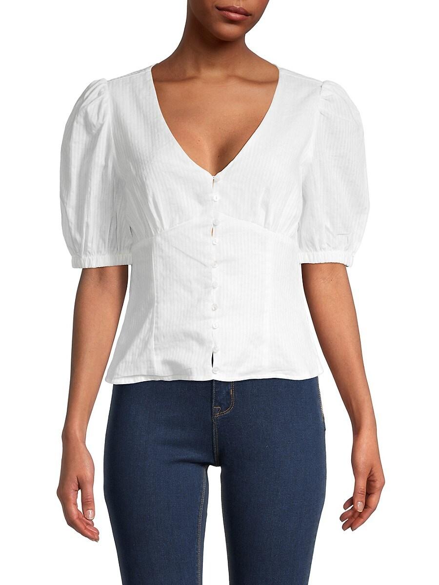 Women's Pinstripe Puff-Sleeve Top