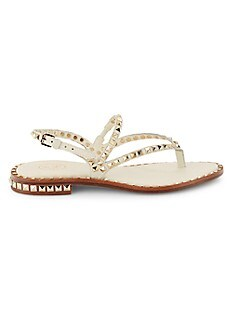 ASH Peps Studded Thong Leather Sandals,PRISTINE