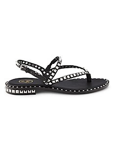 ASH Peps Studded Leather Sandals,BLACK SILVER