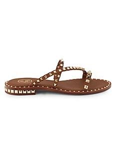 ASH Peace Studded Leather Slides,TAN