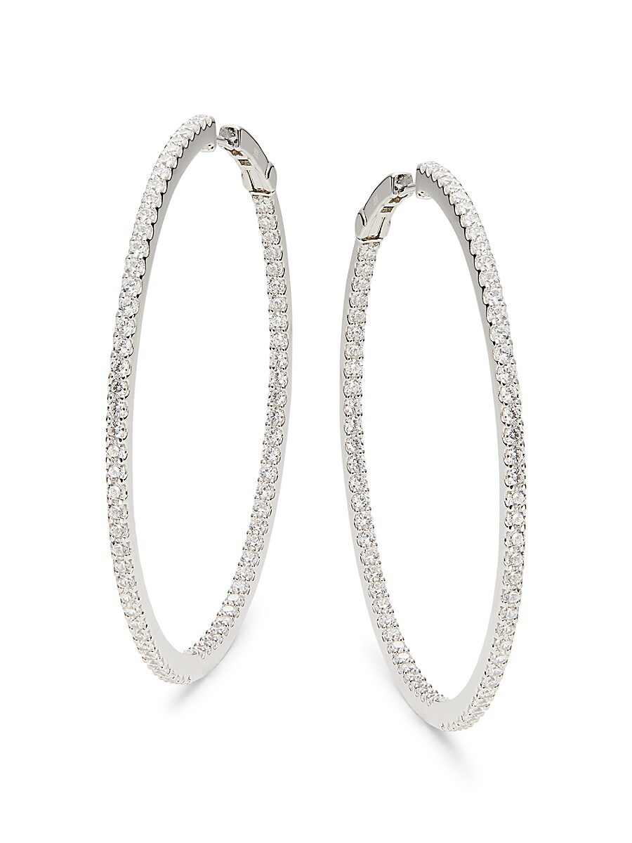 Women's Classic Platinum-Plated Sterling Silver & Simulated Diamond Hoop Earrings