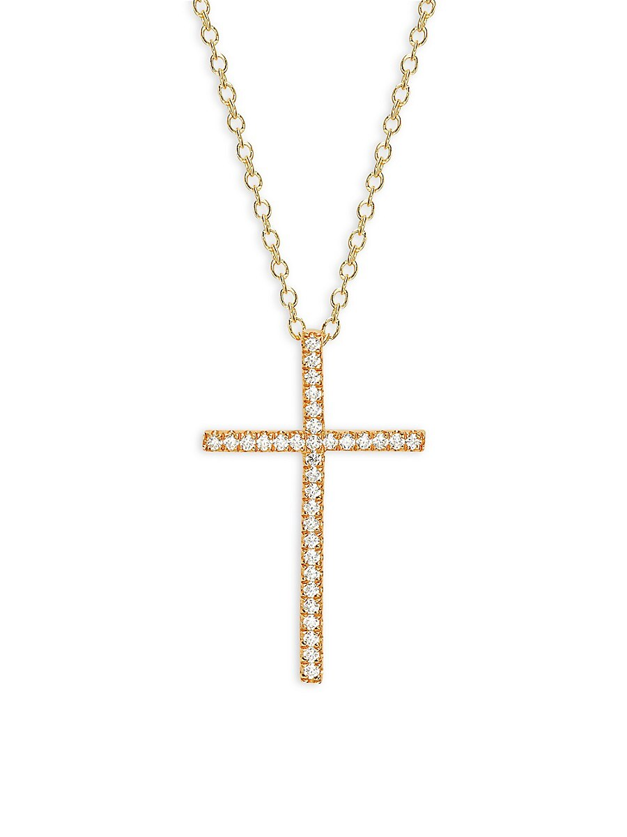 Women's Classic Cross 18K Yellow Goldplated Sterling Silver & Simulated Diamond Necklace