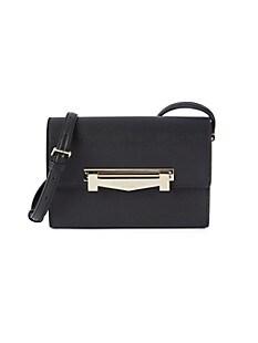 브루노 말리 시계 Bruno Magli Leather Flap-Top Crossbody Bag,BLACK
