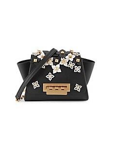 잭 잭 포즌 Zac Zac Posen Mini Eartha Leather Crossbody Bag,BLACK