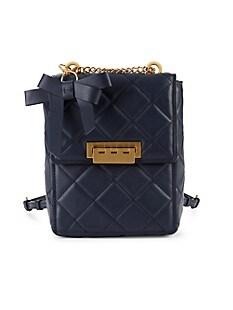 잭 잭 포즌 Zac Zac Posen Mini Convertible Leather Backpack,PARISIAN BLUE