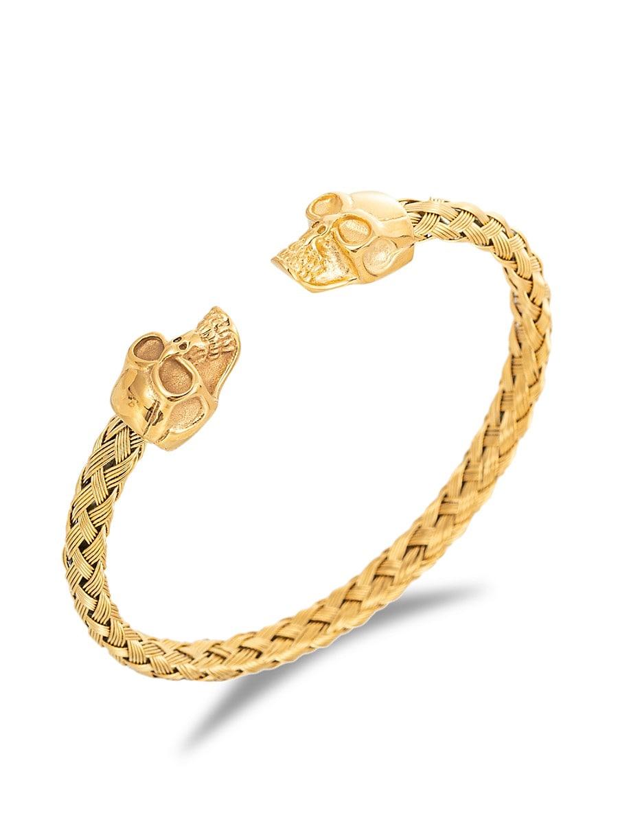 Women's Luxe 18K Goldplated Titanium Skull Cuff Bracelet