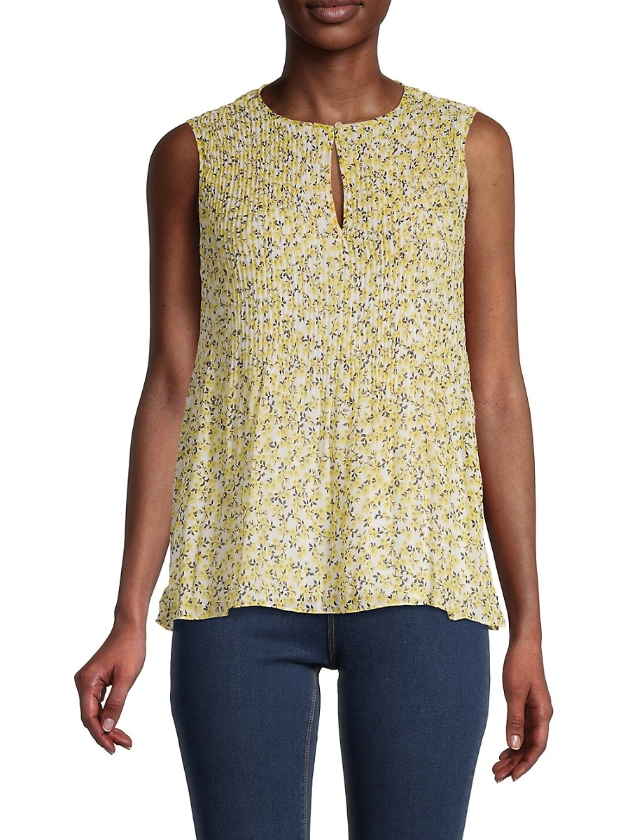 Women's Sleeveless Pleated Floral Top