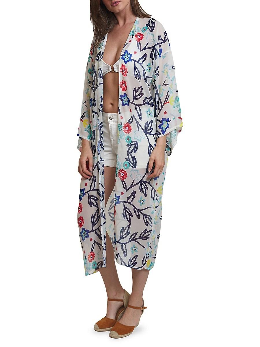 Women's Floral-Print Kimono Coverup