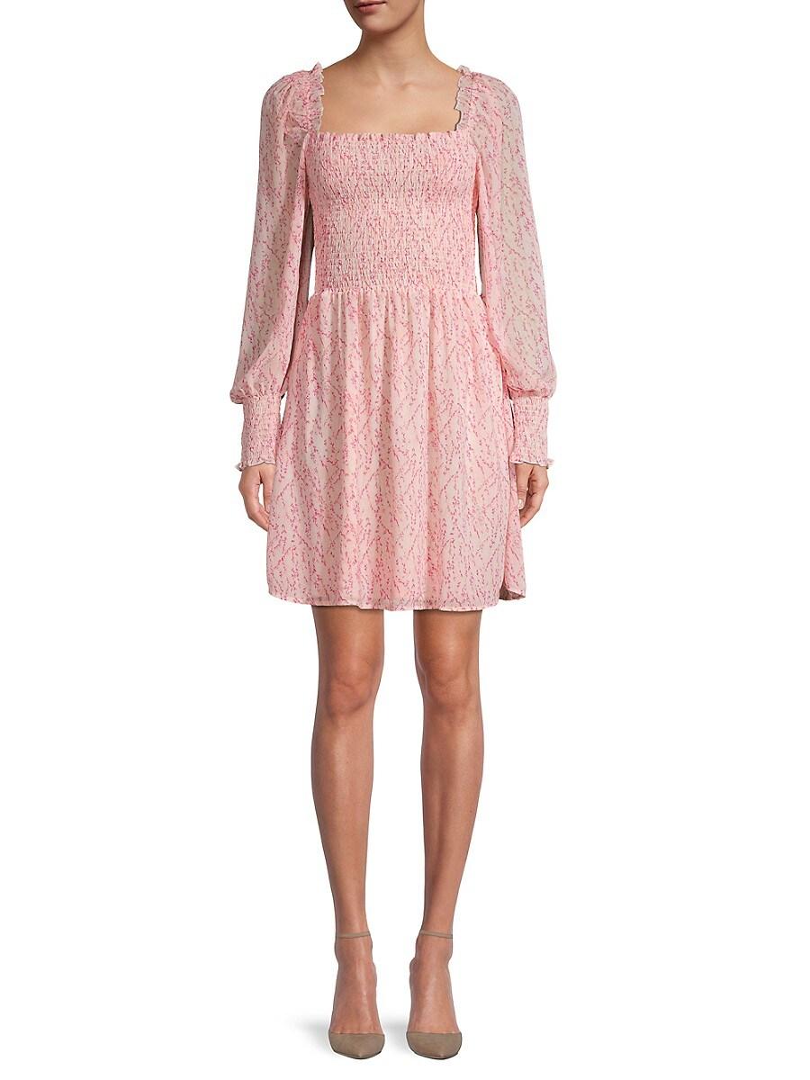 Women's Printed Smocked Mini Dress