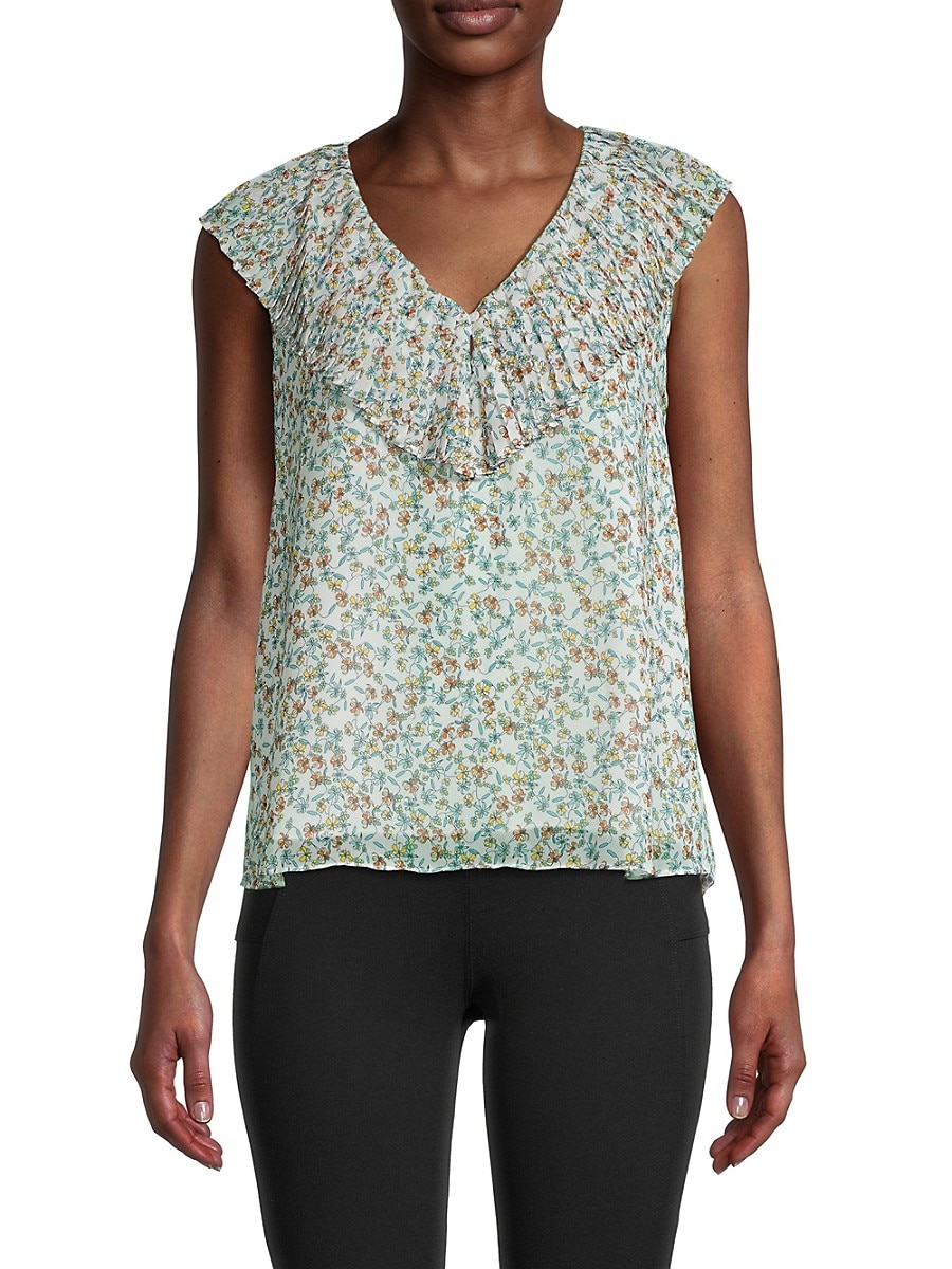 Women's Pleated V-Neck Floral Top