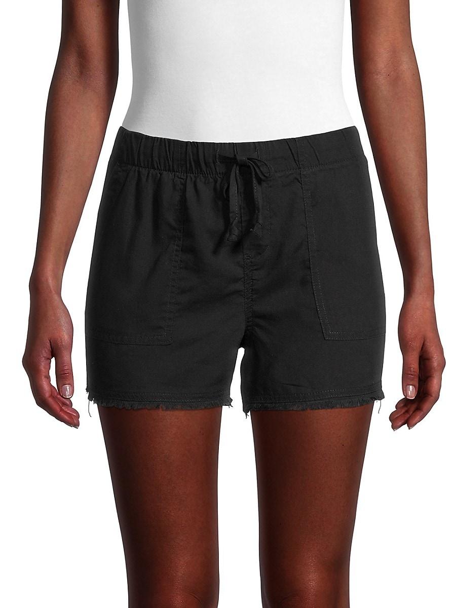 Women's Frayed Hem Drawstring Shorts