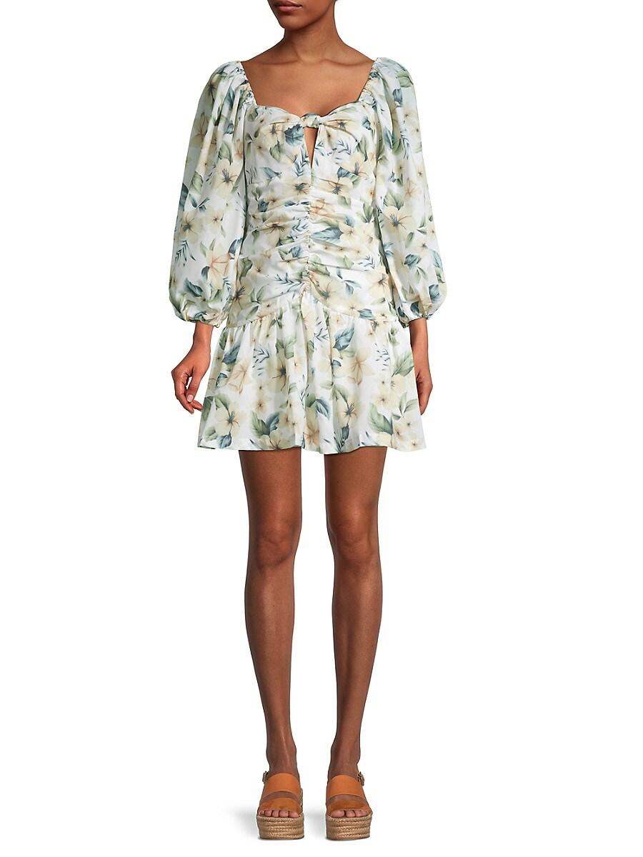 Women's Puff-Sleeve Floral-Print Mini Dress