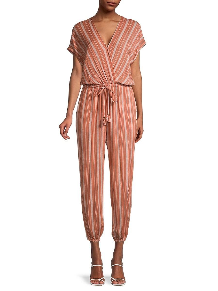 Women's Striped Dolman-Sleeve Jumpsuit