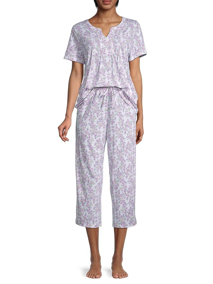 Carole Hochman Women's 2-Piece Floral-Print Pajama Set - White Novel - Size XL