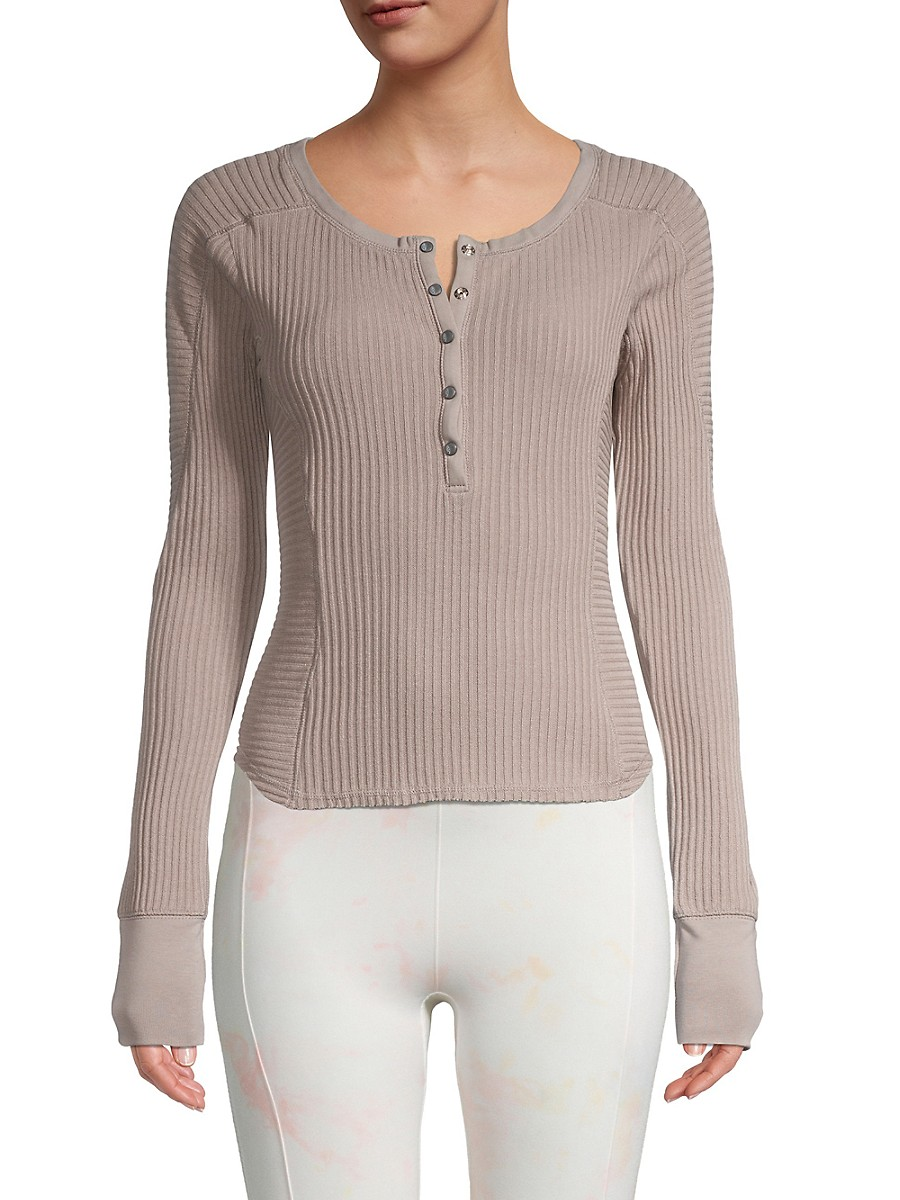 Women's Ribbed Cropped Henley