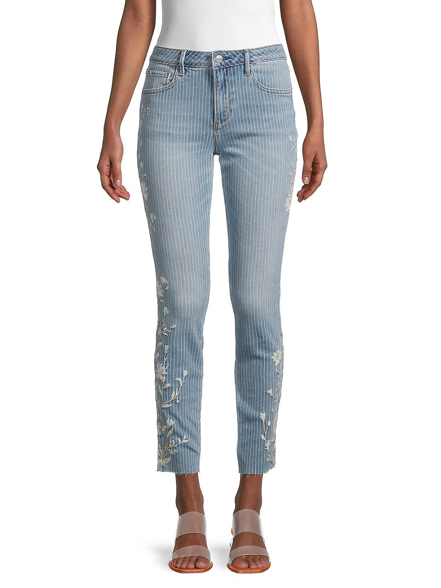 Women's Jackie Embroidered Vine Striped Jeans