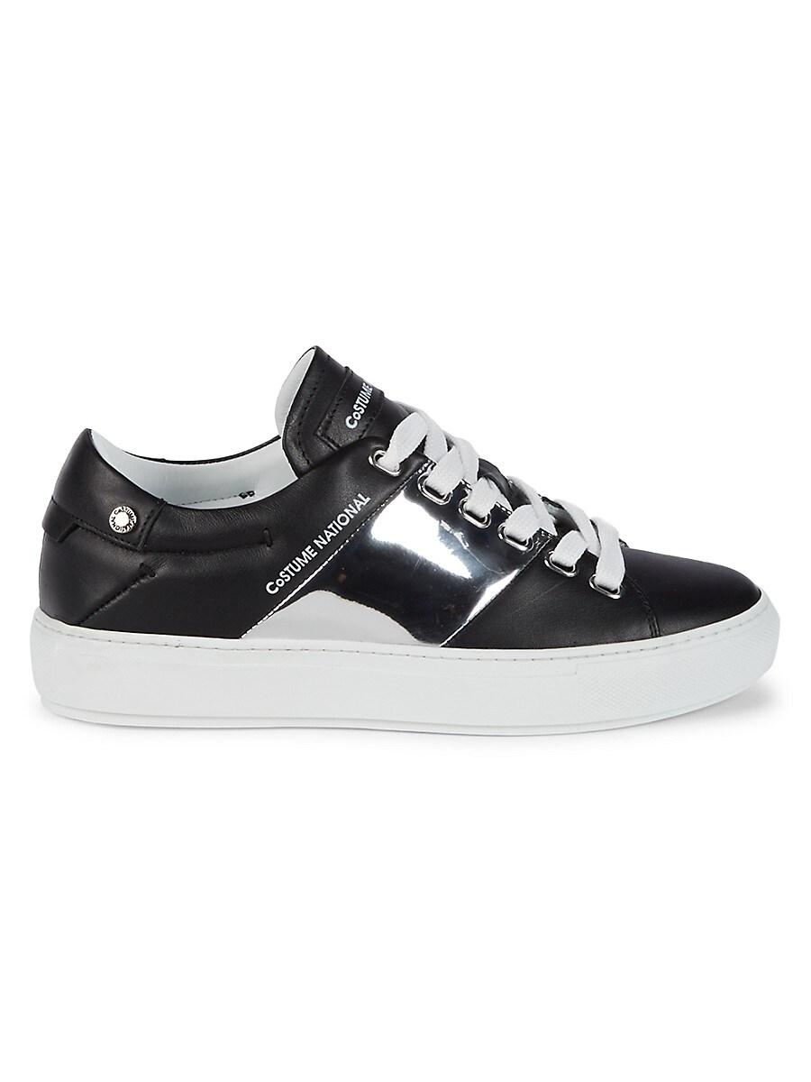 Women's Low-Top Leather & Metallic Sneakers