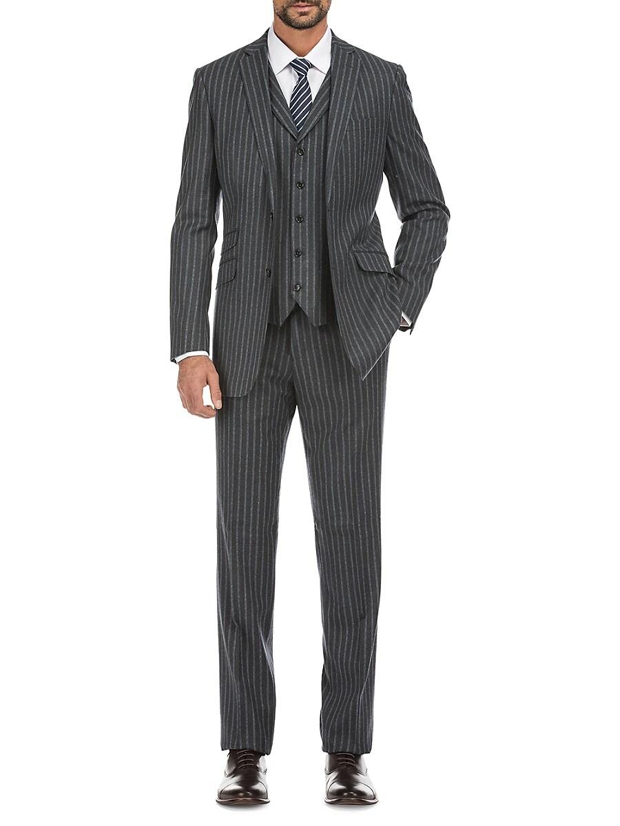 Men's Slim-Fit Striped 3-Piece Wool-Blend Suit