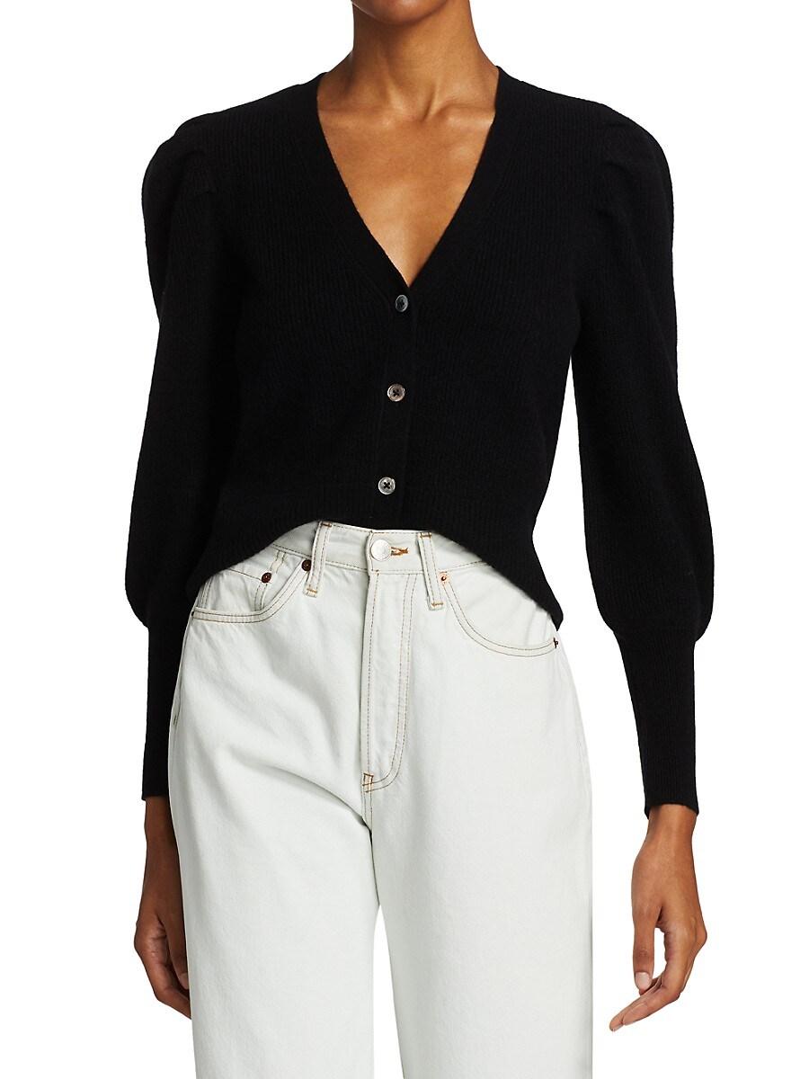 Women's Crop Cashmere Puff-Sleeve Cardigan