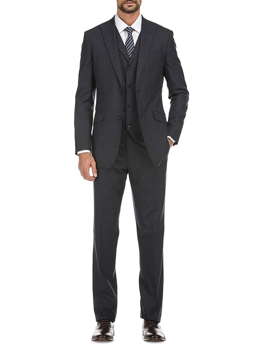 Men's Slim-Fit Windowpane Check 3-Piece Wool Suit
