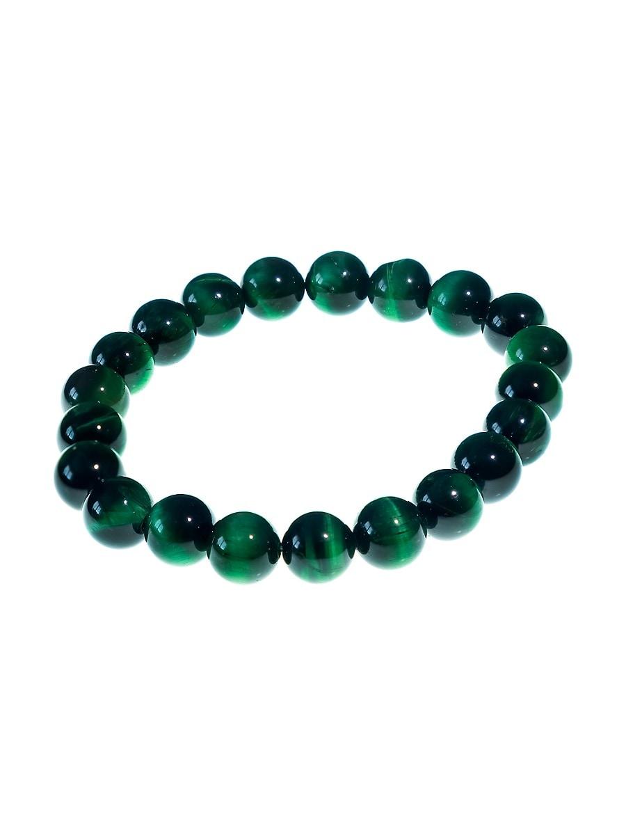 Men's Green Tiger Eye Beaded Bracelet