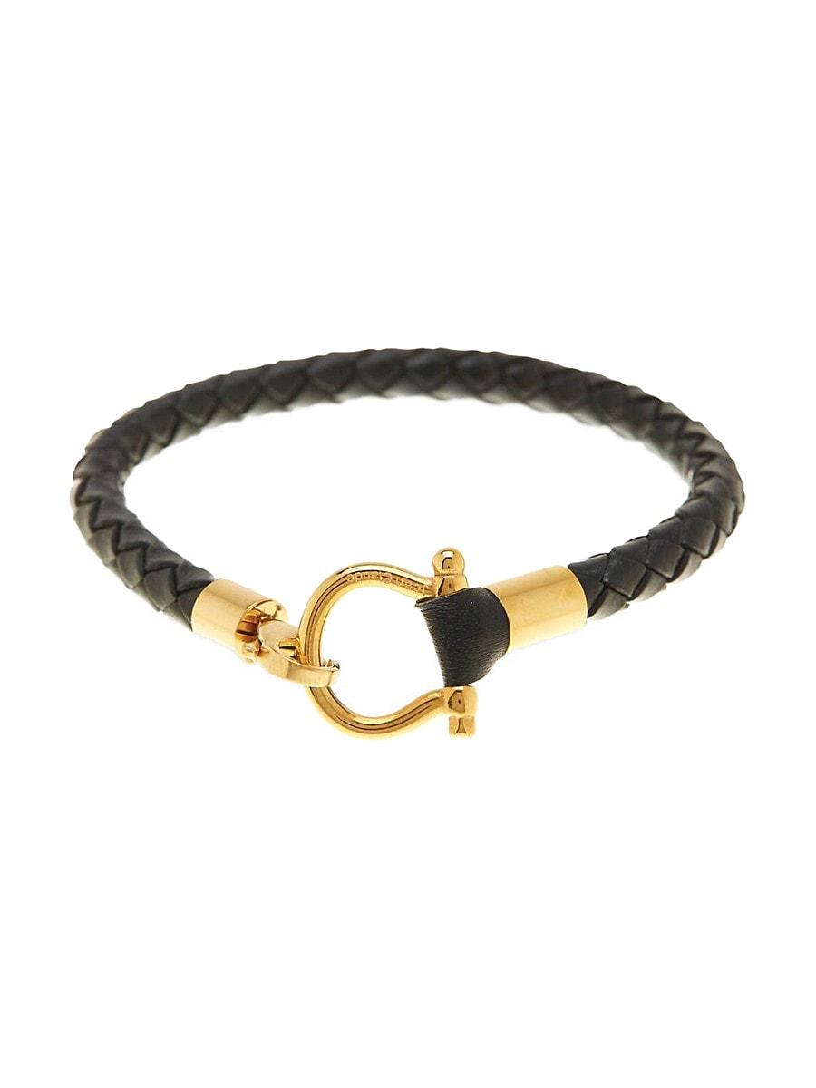 Men's Leather & Goldplated Stainless Steel Bracelet