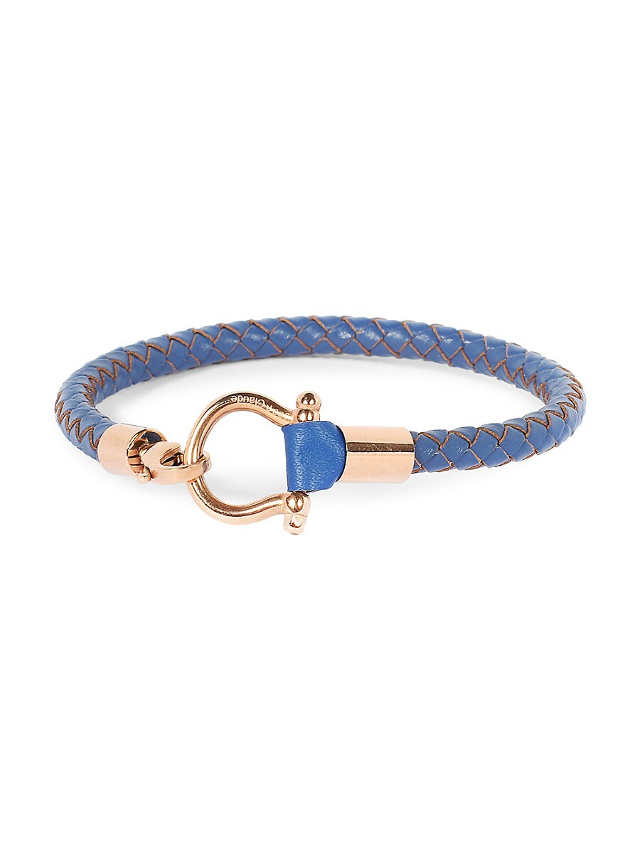Men's Goldplated Stainless Steel & Braided Leather Bracelet