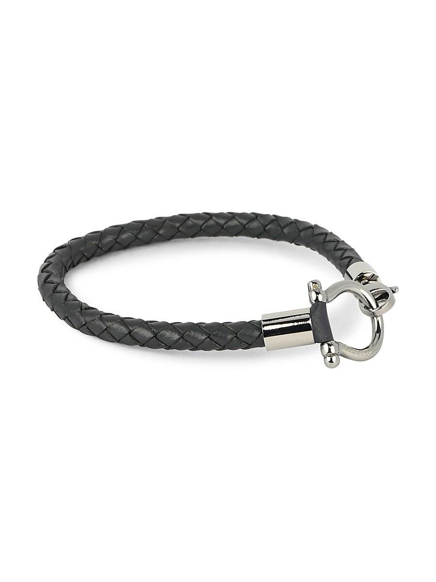 Men's Leather & Stainless Steel Bracelet