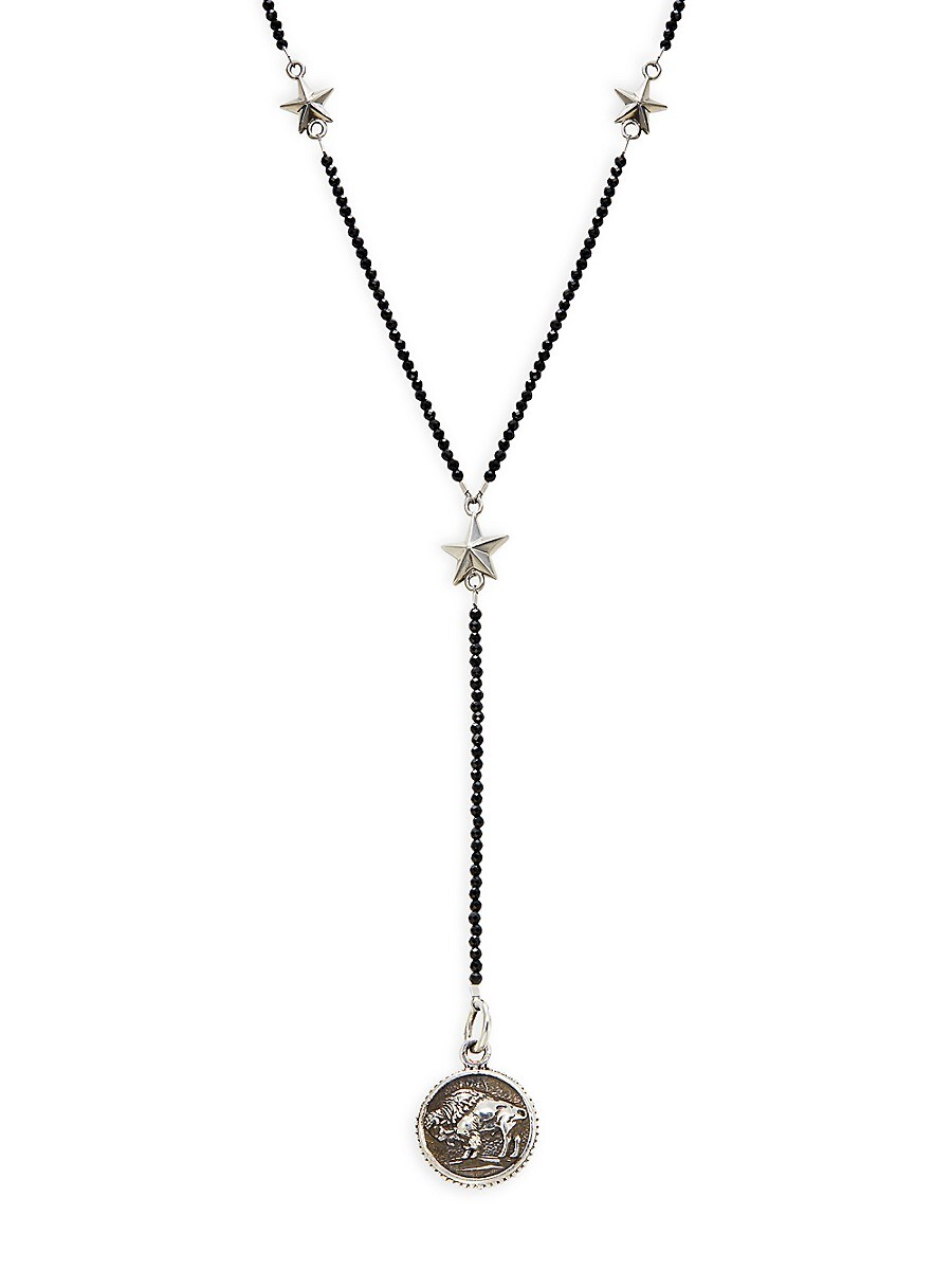 Men's Buffalo Sterling Silver & Spinel Lariat Necklace