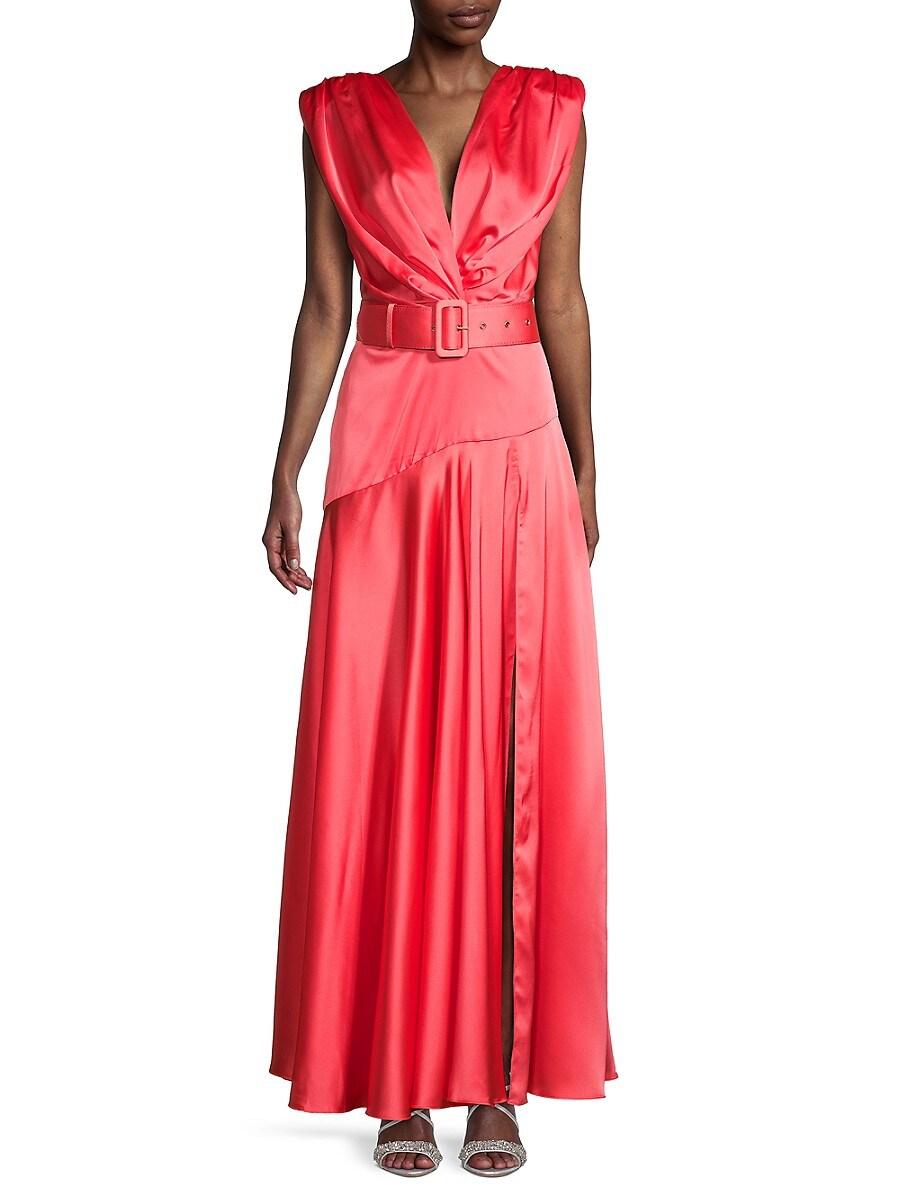 Women's Carmen Belted Satin Gown