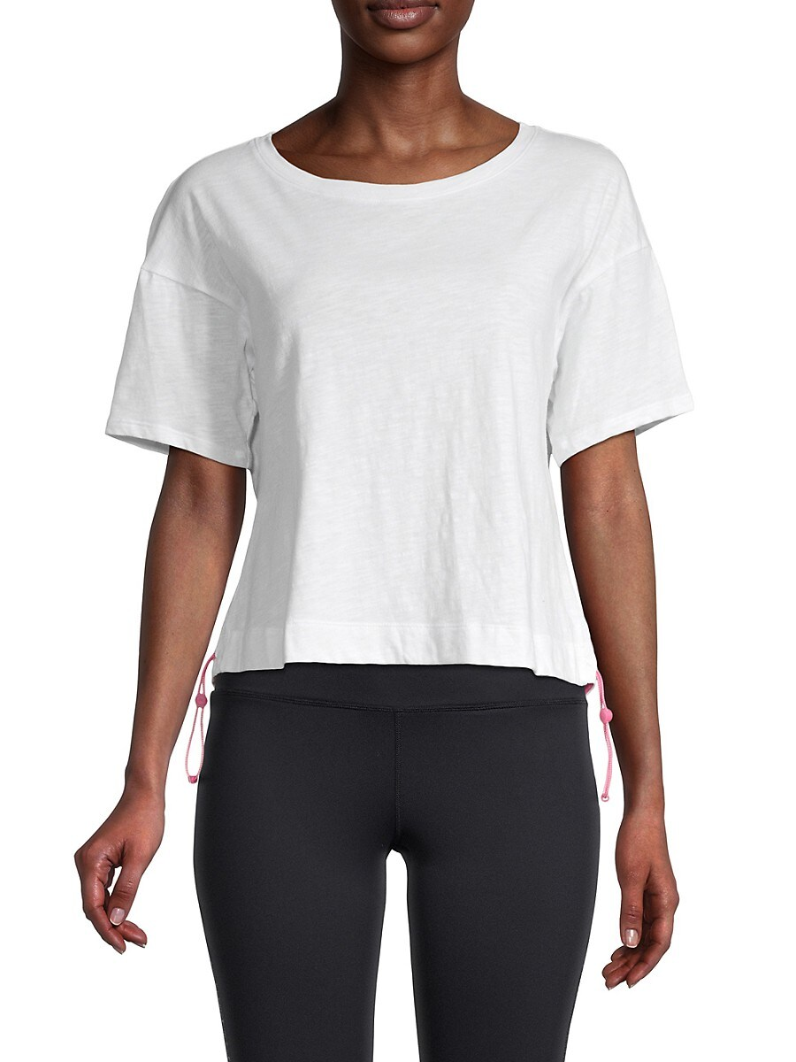Women's Side Pull Tab Cropped Active Top