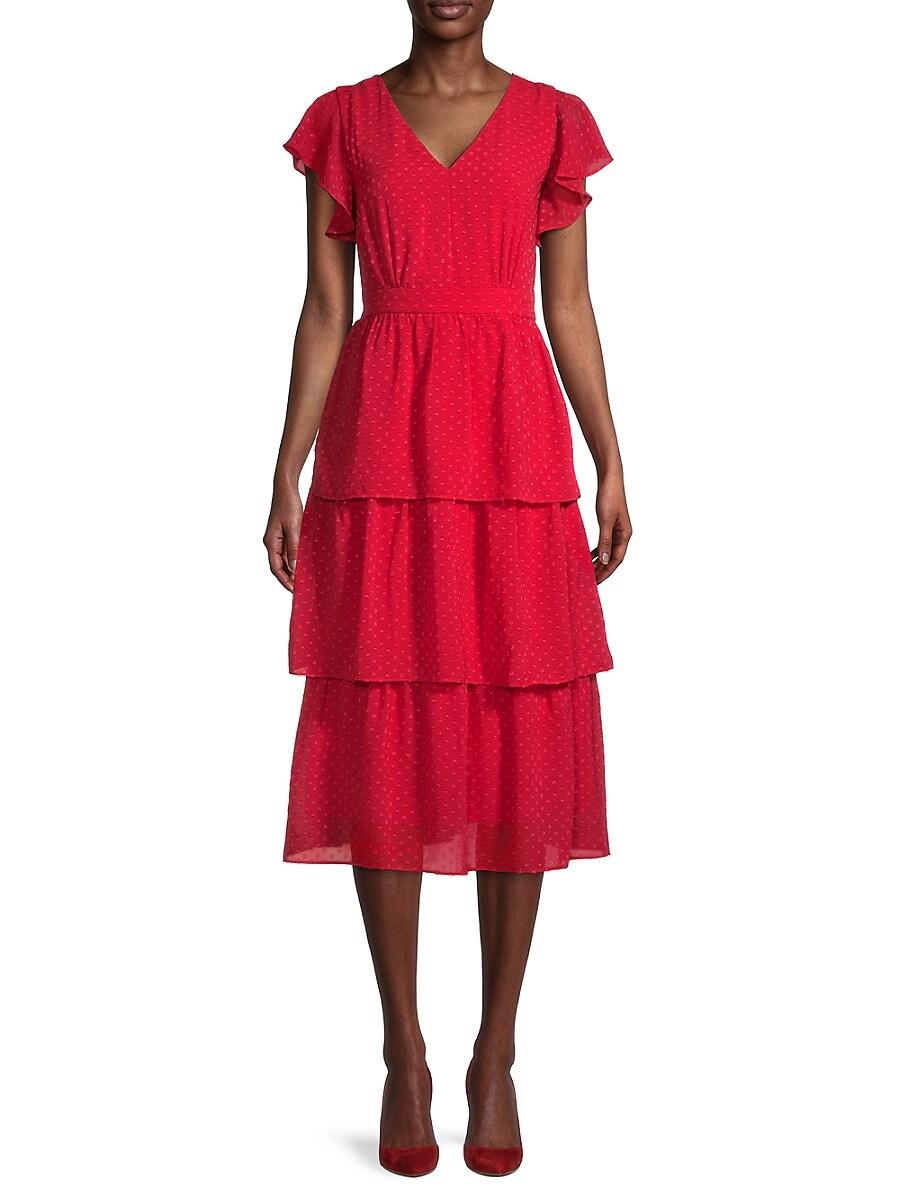 Women's Textured Flutter-Sleeve Tiered Dress