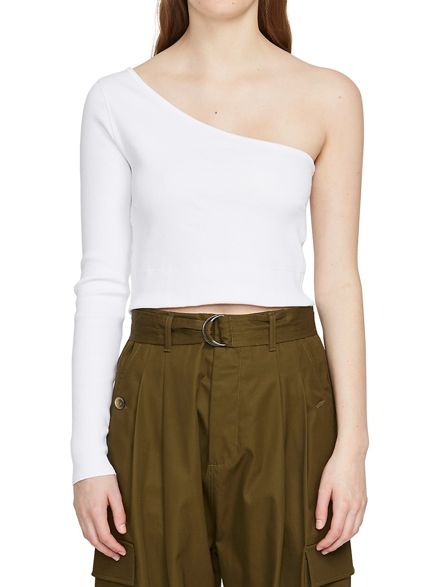 Women's Ribbed One-Shoulder Cropped Top