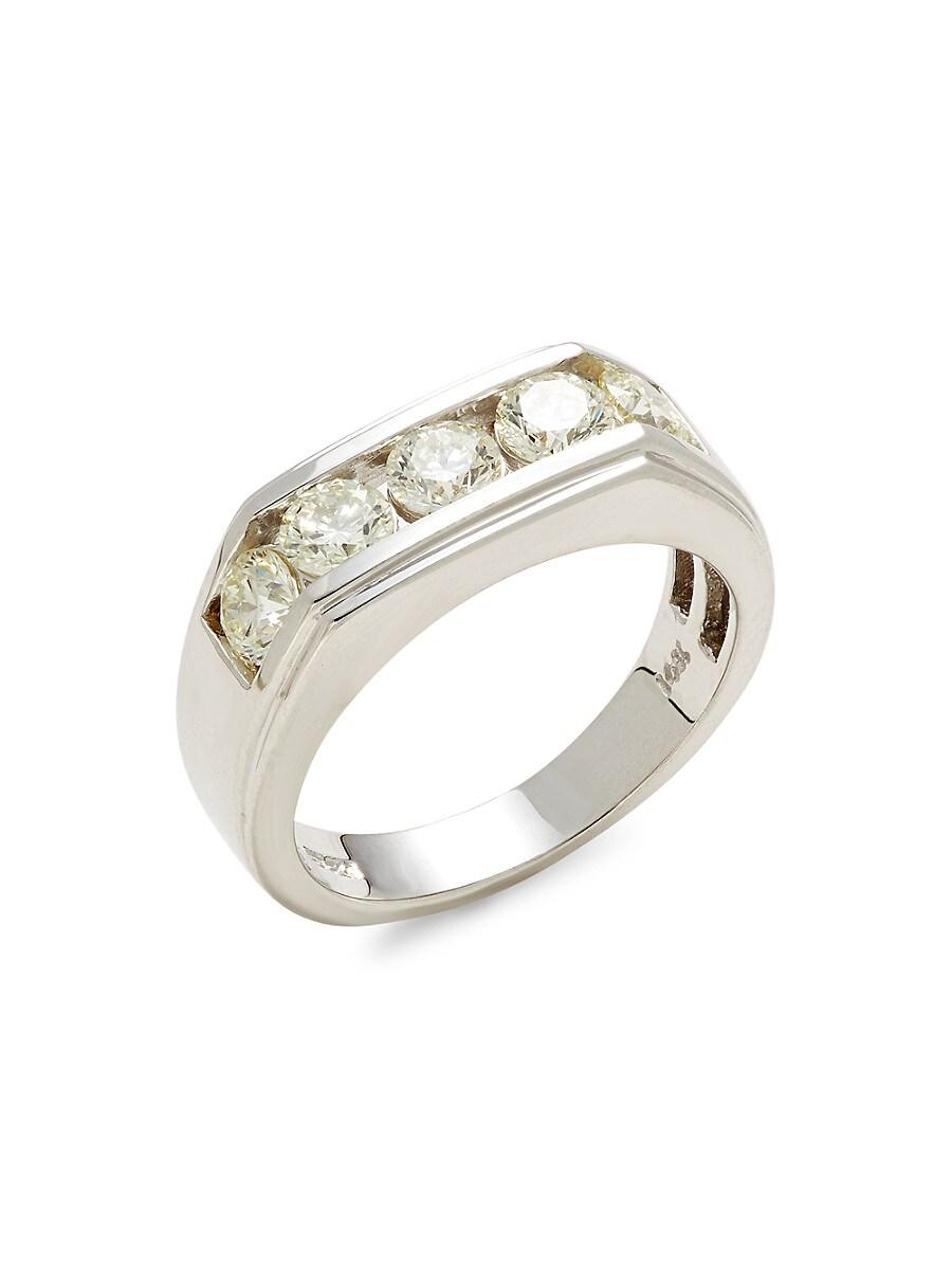 Effy Men's 14k White Gold & Diamond Ring