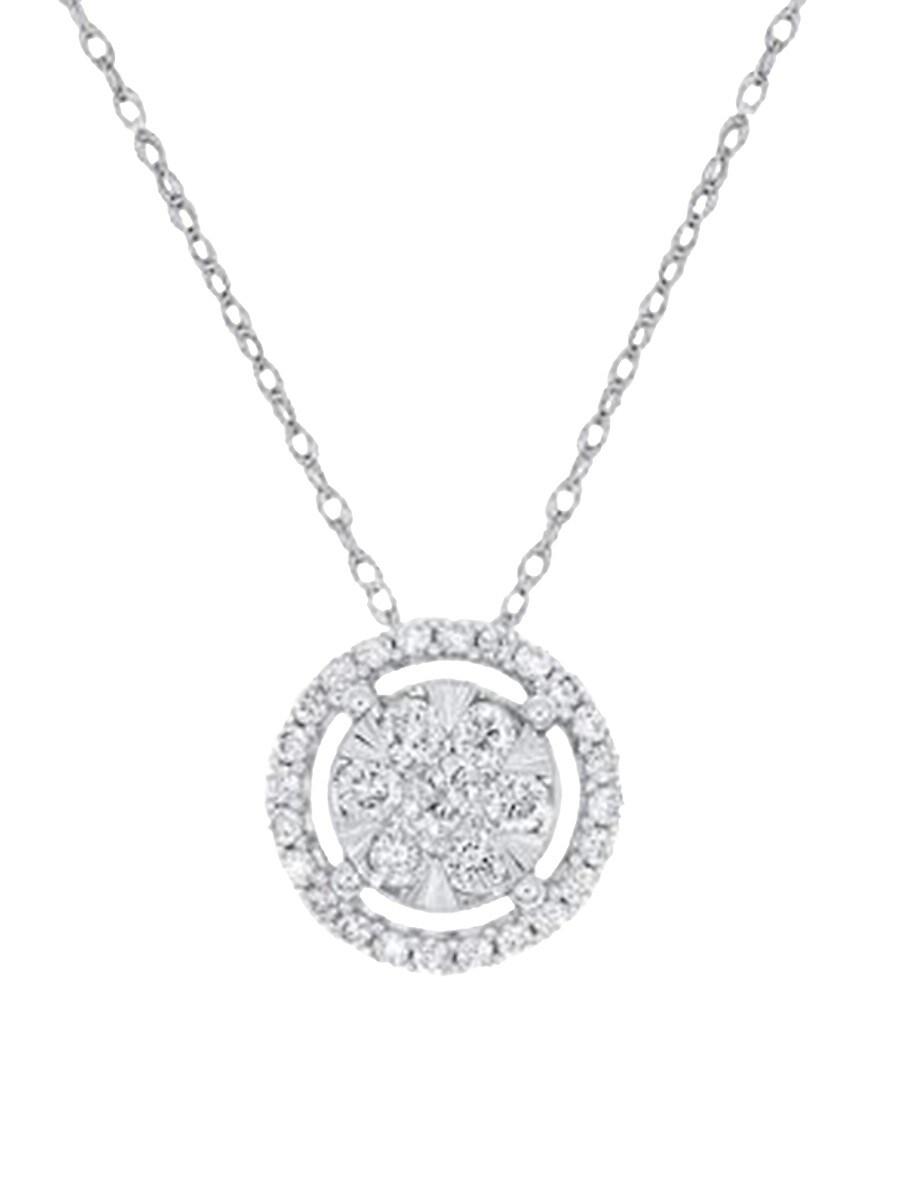 "Women's 14K White Gold & 0.50 TCW Diamond Pendant Necklace/16"""