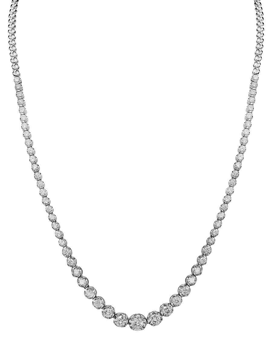 "Women's 14K White Gold & 3.00 TCW Diamond Necklace/16"""