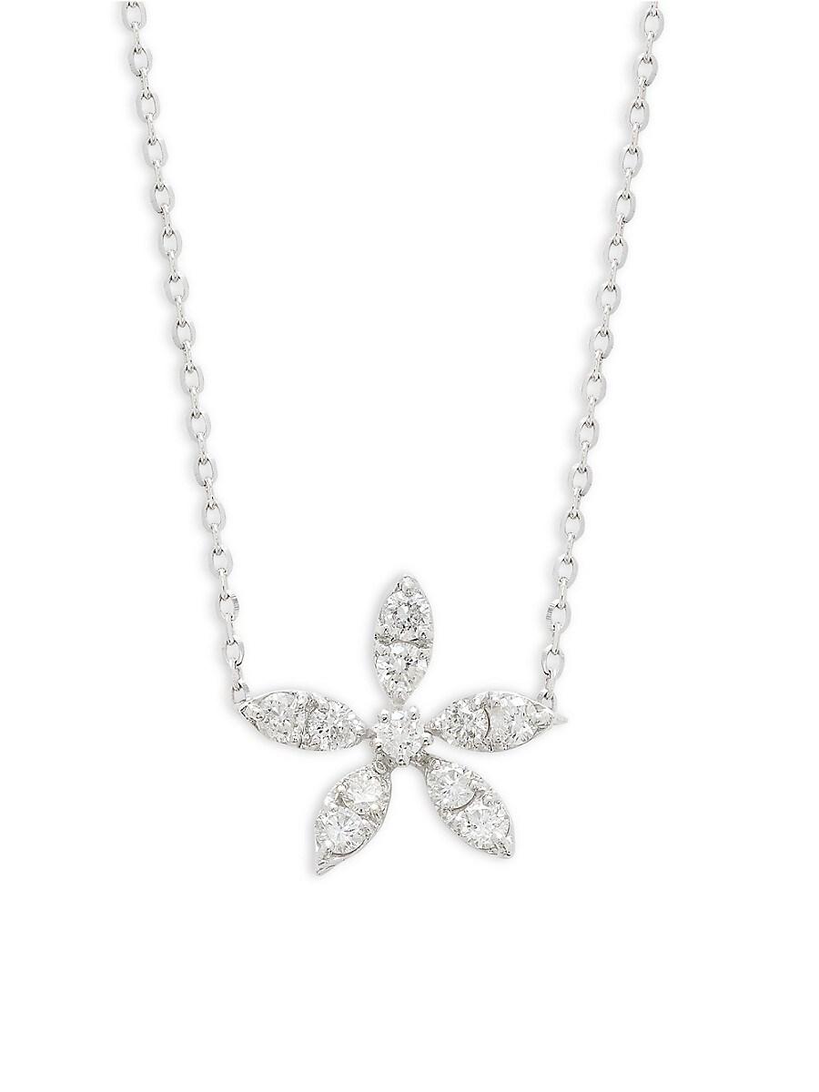 Women's White Gold Diamond Flower Necklace