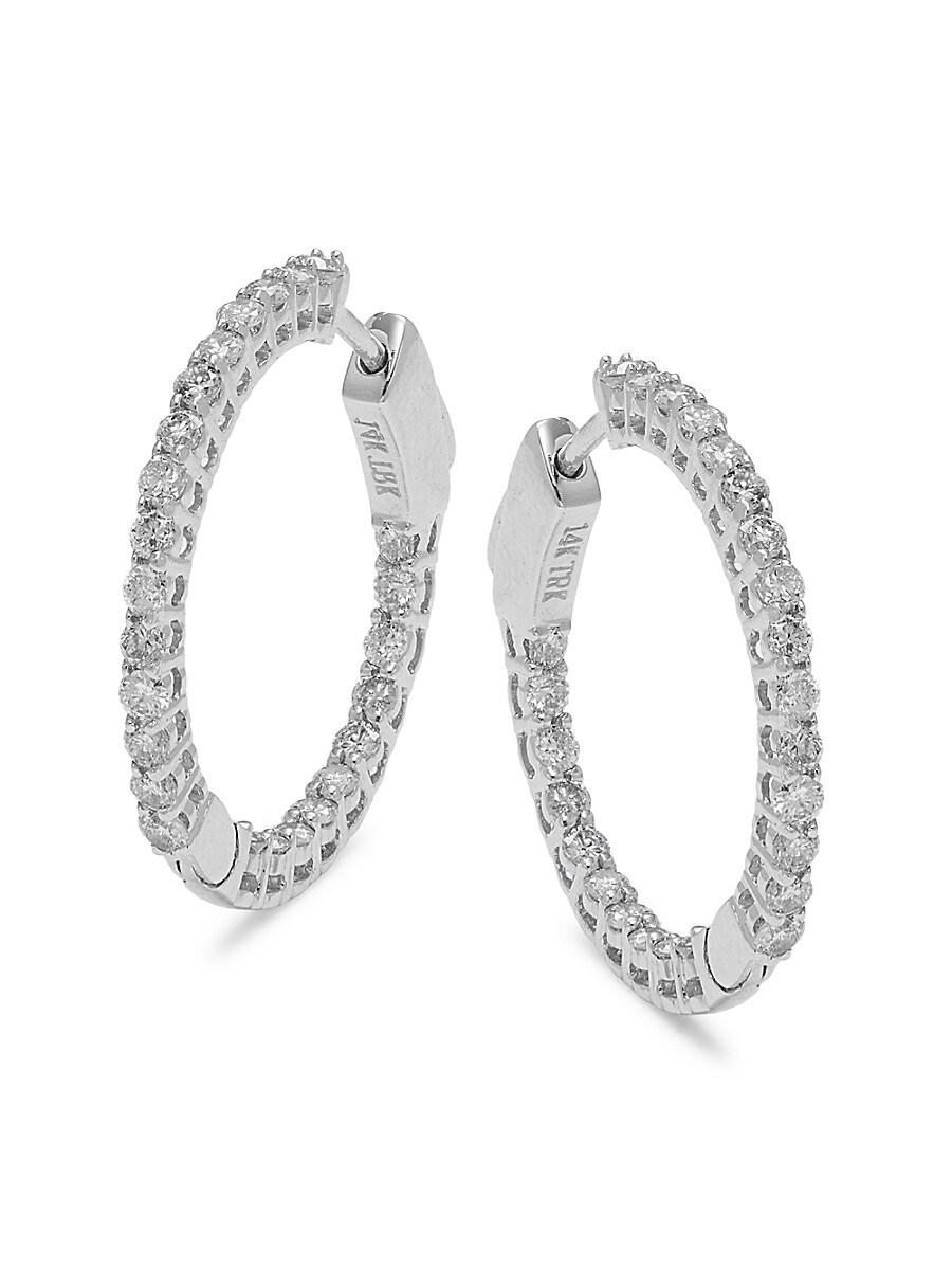 Women's 14K White Gold & Diamond Hoop Earrings