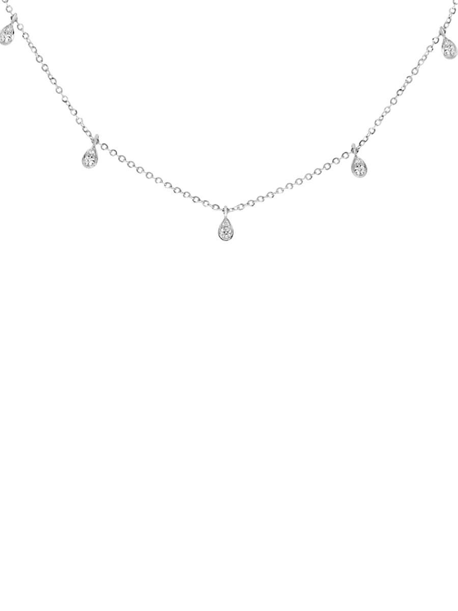 "Women's 14K White Gold & 0.28 TCW Diamond Station Necklace/16"""