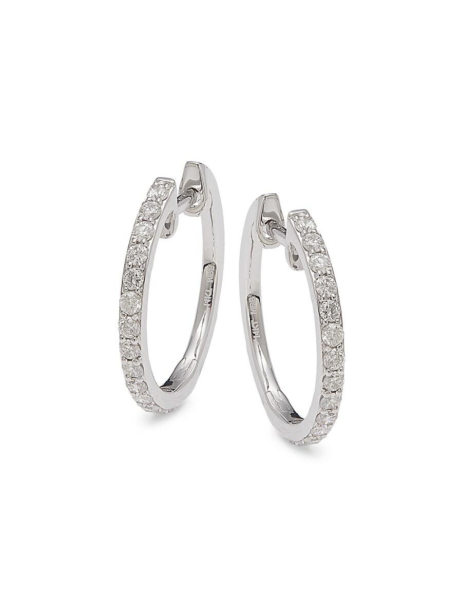 Women's 14K White Gold & 0.50 TCW Diamond Hoop Earrings