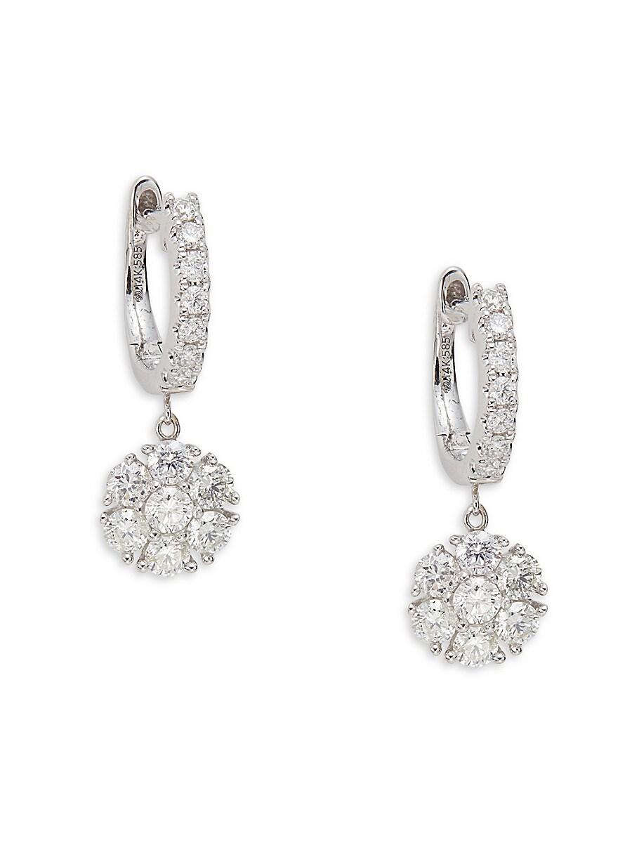 Women's 14K White Gold & 1.20 TCW Diamond Drop Earrings