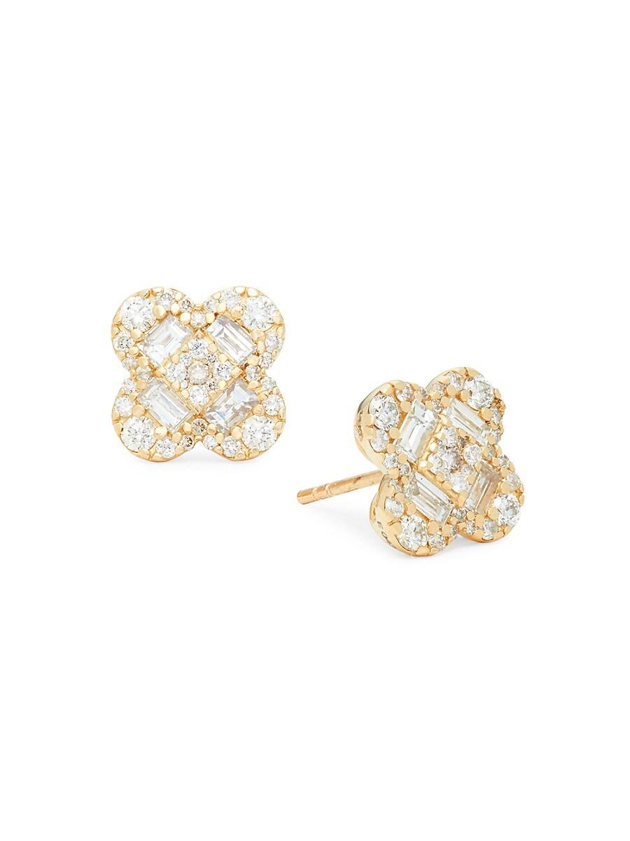 Women's 14K Yellow Gold & Diamond Flower Earrings