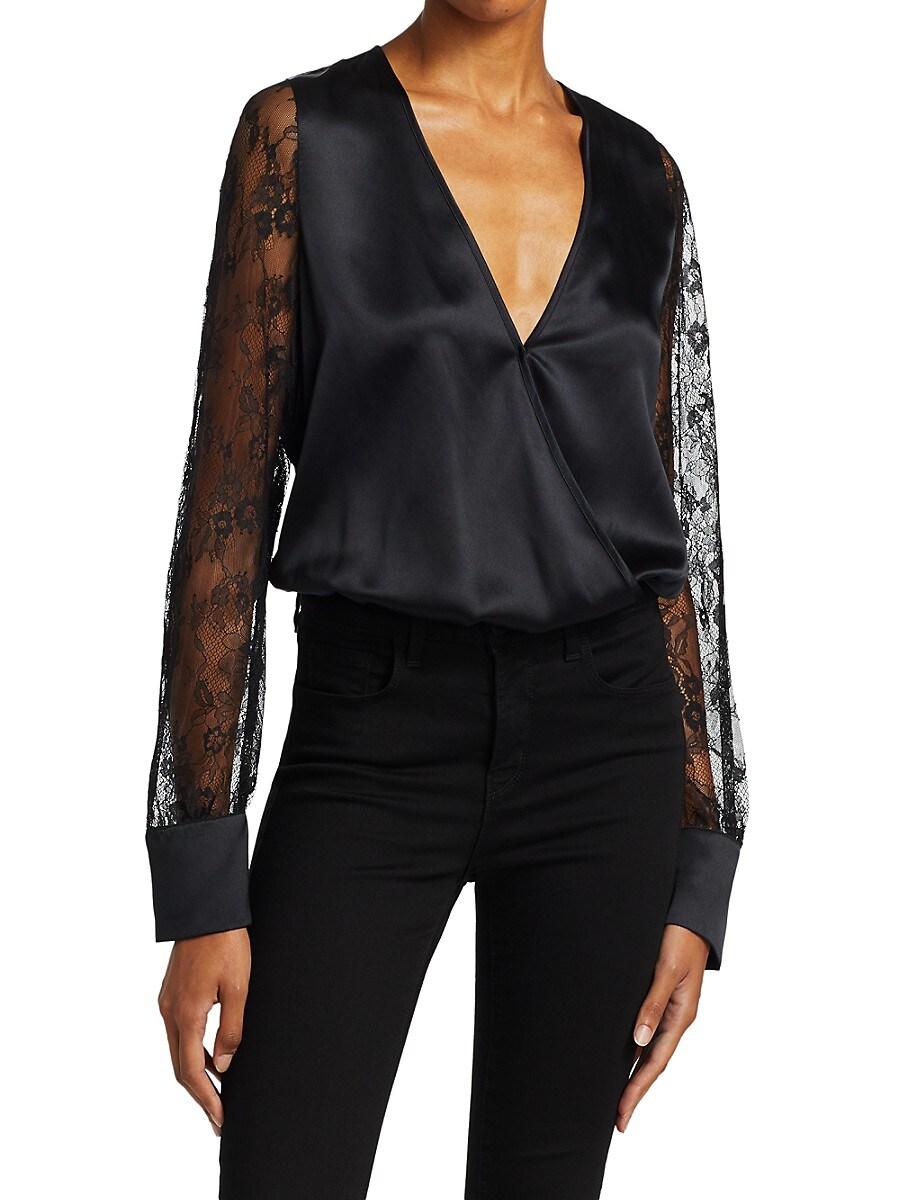 Women's Bette Silk Lace-Sleeve Bodysuit