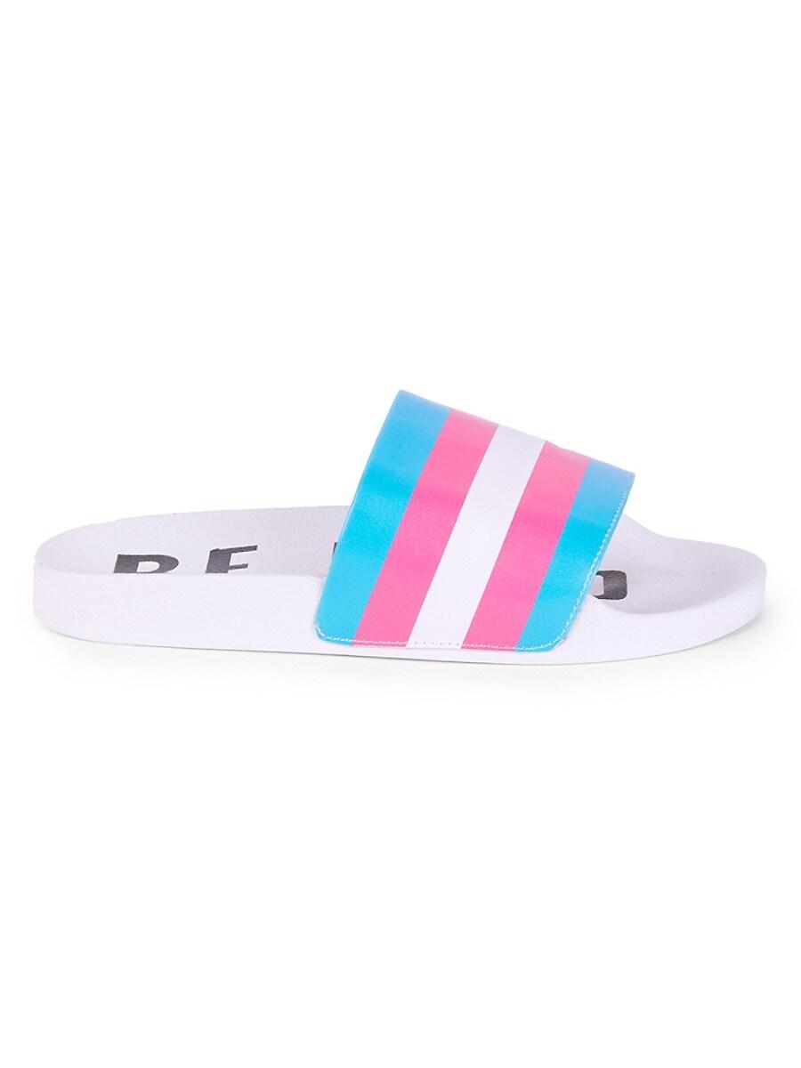 MAH Gender Neutral Be Kind Striped Pool Slides - White Cloud - Size W 15 / M 13 Sandals