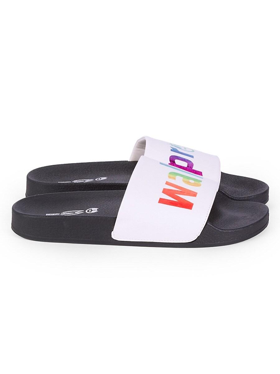 MAH Gender Neutral Walk Proud Pool Slides - White Rainbow - Size W 15 / M 13 Sandals